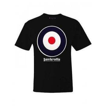 Lambretta Vintage Retro Casual Target T-Shirt Black