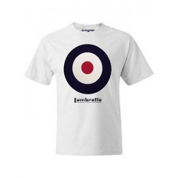 Lambretta Vintage Retro Casual Target T-Shirt White