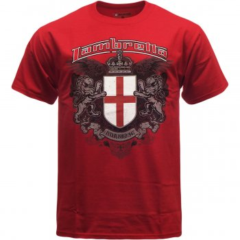Lambretta Vintage Retro Mens Crest T-Shirt Red