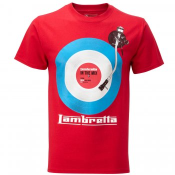Lambretta Vintage Retro Mens In The Mix Target T-Shirt Red
