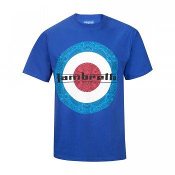 Lambretta Vintage Retro Mens Paisley Target T-Shirt Royal Blue