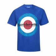 Vintage Retro Mens Paisley Target T-Shirt Royal Blue