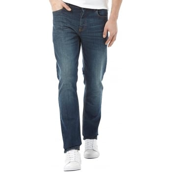 Lee Cooper Mens New Basicon Regular Fit Straight Leg Jeans Dark Wash