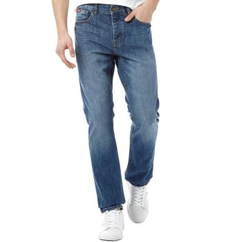 Lee Cooper Mens New Basicon Regular Fit Straight Leg Jeans Stone Wash