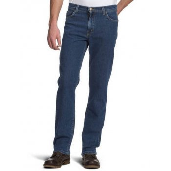 Lee Jeans Lee Brooklyn Mens New Regular Comfort Fit Jeans Dark Stonewash
