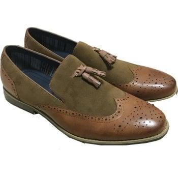 Belide Mens Belide Designer Suede Look Shoes Smart Formal Wedding Office Camel