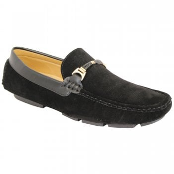 Belide Mens Belide Moccasins Suede Look Shoes Driving Loafers Slip On Italian New Black