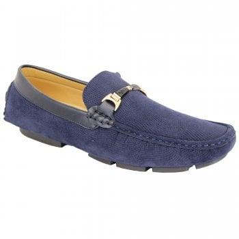 Belide Mens Belide Moccasins Suede Look Shoes Driving Loafers Slip On Italian New Navy