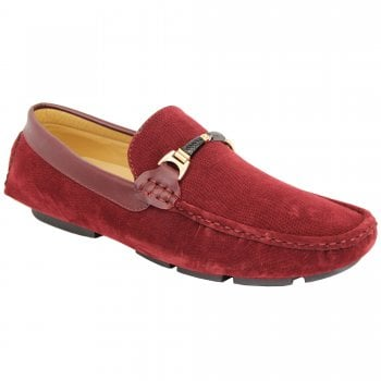 Belide Mens Belide Moccasins Suede Look Shoes Driving Loafers Slip On Italian New Red