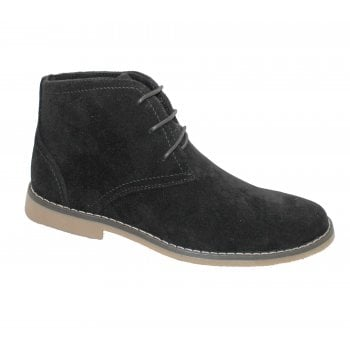 Belide Mens Belide Suede Look Desert Lace Up Casual Boots Winter Ankle High Top Black