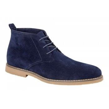 Belide Mens Belide Suede Look Desert Lace Up Casual Boots Winter Ankle High Top Navy