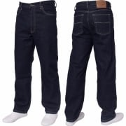 Mens Blue Circle Jeans Heavy Duty Workwear Basic Straight Regular Fit Indigo Jeans
