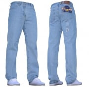 Mens Blue Circle Jeans Heavy Duty Workwear Basic Straight Regular Fit Light Wash Jeans 28-60