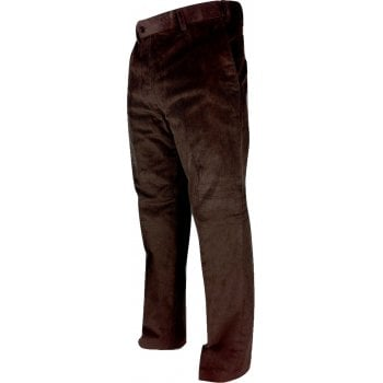 Carabou Mens Carabou Expandable Waist New Thick Jumbo Corduroy Trousers Dark Brown