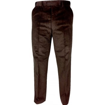 Mens Carabou Expandable Waist New Thick Jumbo Corduroy Trousers Brown Navy BNWT