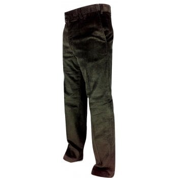 Carabou Mens Carabou Expandable Waist New Thick Jumbo Corduroy Trousers Olive