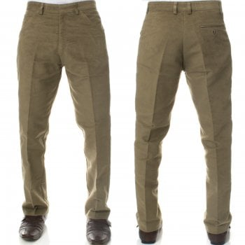 Carabou Mens Carabou New Casual Plain Moleskin Work Hunting Trousers Lovat Beige