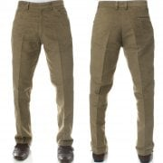 Mens Carabou New Casual Plain Moleskin Work Hunting Trousers Lovat Beige