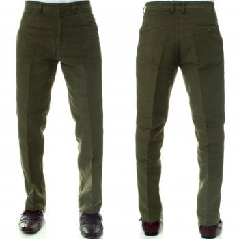 Carabou Mens Carabou New Casual Plain Moleskin Work Hunting Trousers Olive Green