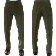Mens Carabou New Casual Plain Moleskin Work Hunting Trousers Olive Green
