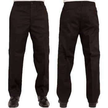 Carabou Mens Carabou New Elasticated Waist Work Casual Plain Rugby Trousers Black