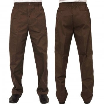 Carabou Mens Carabou New Elasticated Waist Work Casual Plain Rugby Trousers Coffee
