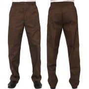 Mens Carabou New Elasticated Waist Work Casual Plain Rugby Trousers Coffee