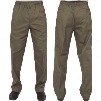 Carabou Mens Carabou New Elasticated Waist Work Casual Plain Rugby Trousers Moss