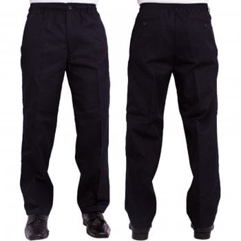 Carabou Mens Carabou New Elasticated Waist Work Casual Plain Rugby Trousers Navy