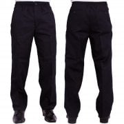 Mens Carabou New Elasticated Waist Work Casual Plain Rugby Trousers Navy