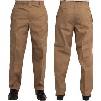 Carabou Mens Carabou New Elasticated Waist Work Casual Plain Rugby Trousers Sand
