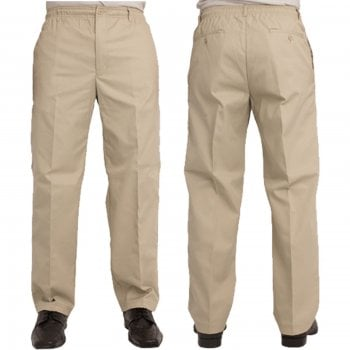 Carabou Mens Carabou New Elasticated Waist Work Casual Plain Rugby Trousers Stone