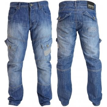 Crosshatch Mens Crosshatch New CARGO Combat Light Washed Straight Leg Jeans