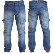Mens Crosshatch New CARGO Combat Light Washed Straight Leg Jeans
