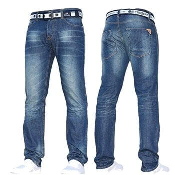 Crosshatch Mens Crosshatch New Gamitto Straignt Leg Distressed Jeans Mid Wash