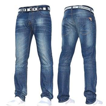 Crosshatch Mens Crosshatch New Gamitto Straignt Leg Distressed Jeans Mid Wash