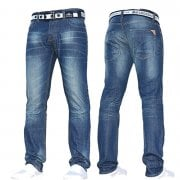 Mens Crosshatch New Gamitto Straignt Leg Distressed Jeans Mid Wash