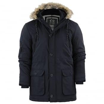 Crosshatch Mens Crosshatch New Killborn Faux Fur Hooded Padded Winter Coat Black