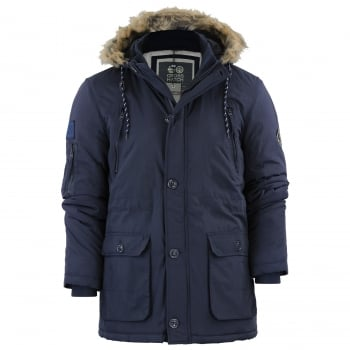 Crosshatch Mens Crosshatch New Killborn Faux Fur Hooded Padded Winter Coat Navy