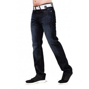 Crosshatch Mens Crosshatch New Princed Straignt Leg Jeans Dark Wash