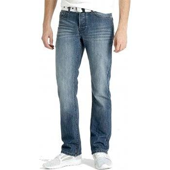 Crosshatch Mens Crosshatch New Princed Straignt Leg Jeans Mid Stonewash