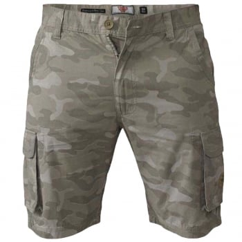 D555 Mens D555 Camo Cargo Shorts Victor Military Army Knee Length Stone