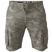 Mens D555 Camo Cargo Shorts Victor Military Army Knee Length Stone