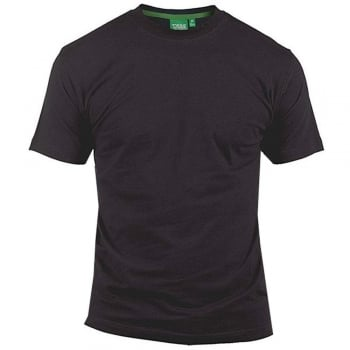 D555 Mens D555 New Premium Weight Combed Cotton King Size Crew Neck T-Shirt Black