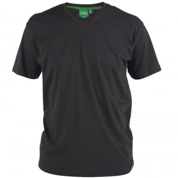 D555 Mens D555 New Premium Weight Combed Cotton King Size V Neck T-Shirt Black