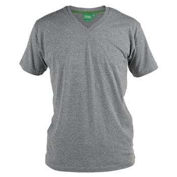 D555 Mens D555 New Premium Weight Combed Cotton King Size V Neck T-Shirt Grey