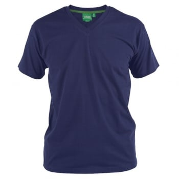 D555 Mens D555 New Premium Weight Combed Cotton King Size V Neck T-Shirt Navy
