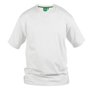 D555 Mens D555 New Premium Weight Combed Cotton King Size V Neck T-Shirt White