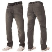 Mens Enzo Apt New Rico Designer Denim Straight Leg Jeans Grey