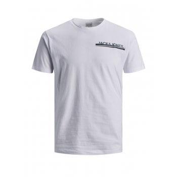 Jack & Jones Mens Jack & Jones New JCOZINE Designer Classic T Shirt White